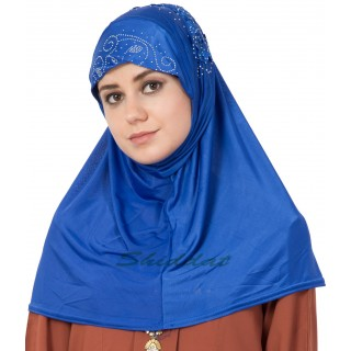 Jersey Instant Hijab - Royal Blue
